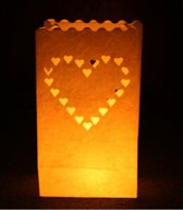 10x Candle Bags set Hart 26 cm