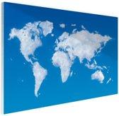 Wereldkaart wolken Glas 120x80 cm - Foto print op Glas (Plexiglas wanddecoratie)