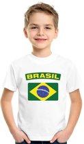 Brazilie t-shirt met Braziliaanse vlag wit kinderen XS (110-116)