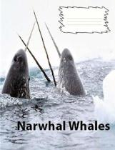 Narwhal Whales Wide Ruled Line Paper Composition Book