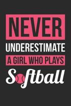 Never Underestimate A Girl Who Plays Softball - Softball Training Journal - Softball Notebook - Gift for Softball Player: Unruled Blank Journey Diary,
