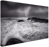 FotoCadeau.nl - Storm op zee  Canvas 30x20 cm - Foto print op Canvas schilderij (Wanddecoratie)