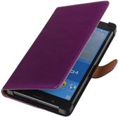 Universeel PU Leder Lila Samsung Galaxy Tab 4 7.0 Stand Book/Wallet Case/Cover