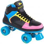 Rookie Rolschaatsen Hype Hi Top - Kinderen - Zwart/Blauw/Geel/Roze - Maat 35