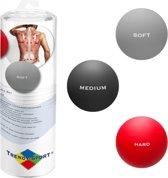 Trendy Sport Massageballen - set van 3 ballen - Trendy Tres Forca - Trigger point therapie ballen - 3 verschillende hardheden - Zacht - Middel - Hard