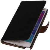 Samsung Galaxy Note 2 Hoesje Washed Leer Bookstyle Zwart