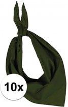 10x Zakdoek bandana olijf groen - hoofddoekjes