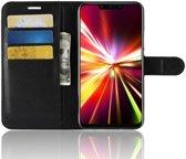 Huawei Mate 20 Lite Lederen Wallet Stand Hoesje Zwart