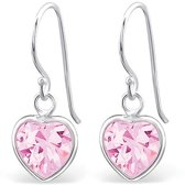 Montebello Oorbellen Birgul Pink - Dames - 925 Zilver - Zirkonia - Hart - 8 x 22 mm