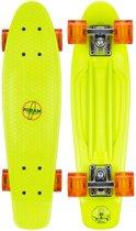 """Nijdam Kunststof Skateboard 22.5"""" - LED wielen - Fluorgroen/Rood"""