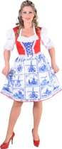 Hollandse dirndl met molens in Delfts blauw | Oktoberfest kleding dames maat 50/52 (XXL)