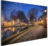 Canal St Martin Parijs Aluminium 60x40 cm - Foto print op Aluminium (metaal wanddecoratie)
