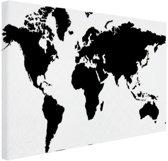 FotoCadeau.nl - Wereldkaart zwart-wit Canvas 80x60 cm - Foto print op Canvas schilderij (Wanddecoratie)