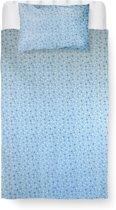 Roomture - Dekbedovertrek 120x150 peuter – katoen – blauw - Blinking star blue