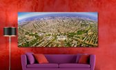 Amsterdam in Panorama op Canvas | 200 x 90 cm