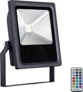 Led floodlight / schijnwerper 30 Watt RGB gekleurd infrarood RF zwarte behuizing