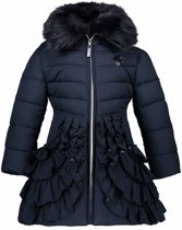 Le Chic winterjas ruffled bottom blue navy - Maat 110