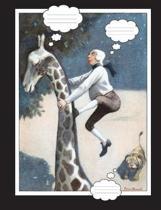 Man Running from Lion Up Giraffe Composition Book