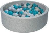 Ballenbak - stevige ballenbad - 90 x 30 cm - 150 ballen Ø 7 cm - wit grijs turquoise