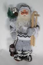 Staande kerstman met ski's en lantaarn en stoffen kleding - 30 cm