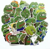 42 Pepe the sad frog stickers - Pepe de verdrietige kikker - grappige stickers voor laptop, fiets, skateboard etc.