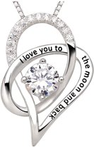 """Fate Jewellery FJ450 Ketting - """"I love you to the moon and back"""" Ketting - 925 Zilver - 45cm + 5cm"""