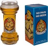 Bierglas - NO PAIN NO BEER (enkel voor stoere mannen / vrouwen)