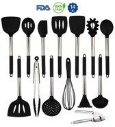 Six O'Clock 14 delige keukenset - RVS en Siliconen Keukengerei - BPA vrij Kookgerei Essentials voor in de keuken
