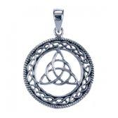 Zilveren Keltische knoop in ronde cirkel
