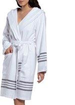 Hamam Badjas White Sultan Dark Grey - unisex maat L - dames/heren/uniseks - hotelkwaliteit - kort model - met capuchon - gevoerd met badstof - sauna badjas - luxe badjas - badstof badjas - ochtendjas - duster - dunne badjas - badmantel
