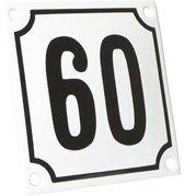 Emaille huisnummer wit/zwart nr. 60 10x10cm