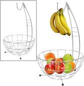 Grote Design Fruitschaal Met Haak - Ronde Fruitmand - Moderne Fruitkom Met Banaanhouder - RVS/Chroom