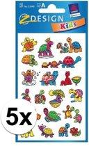 5x Schildpad stickers 2 vellen - kinder stickers