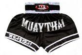 Ali's Fightgear Kickboksbroek Kort Muay Thai Zwart Maat Xl