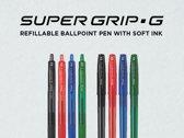 Pilot- Supergrip G met dop - 4 kleuren- mediumpoint - 30+10 stuks