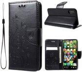 GSMWise - Apple iPhone X - PU Lederen Portemonnee Hoesje Bloemen design - Zwart