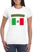 T-shirt met Mexicaanse vlag wit dames XS
