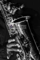 Schilderij - Saxofoon in zwart en wit