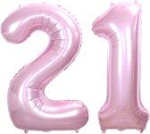 Folie Ballon Cijfer 21 Jaar Roze 86Cm Verjaardag Folieballon Met Rietje