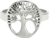 Ring met Levensboom - RVS - One Size - Zilverkleurig - Dielay