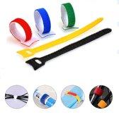 100x Kabelbinders Klittenband Set Hersluitbaar - Velcro Tiewraps Herbruikbaar - Tyraps Trekbandjes