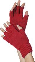 Handschoenen vingerloos gebreid uni rood