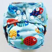 AN6 AIO Newborn wasbare Pocket luier vissen