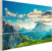 Zonsondergang in de bergen Hout 120x80 cm - Foto print op Hout (Wanddecoratie)