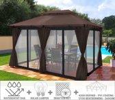 Partytent - 4x3 - Waterdicht Dak - Zijwanden - Insectennet - Solar - Bruin Paviljoen