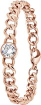 Lucardi - Colours by Kate - Stalen armband roseplated met witte zirkonia
