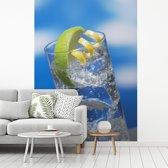 Fotobehang vinyl - Gin tonic met een blauwe lucht breedte 210 cm x hoogte 280 cm - Foto print op behang (in 7 formaten beschikbaar)