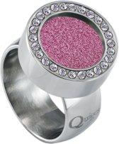Quiges RVS Schroefsysteem Ring met Zirkonia Zilverkleurig Glans 20mm met Verwisselbare Glitter Roze 12mm Mini Munt