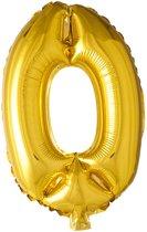 Folie Ballon Cijfer 0 Goud 41cm met rietje