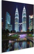 De Petronas Towers prachtig verlicht in de nacht Plexiglas 120x180 cm - Foto print op Glas (Plexiglas wanddecoratie) XXL / Groot formaat!